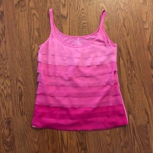 NY&C Pink Ombré Tiered Ruffle Tank
